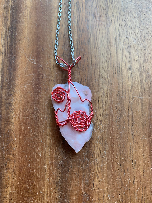 Pink Opal Wire Wrapped Necklace