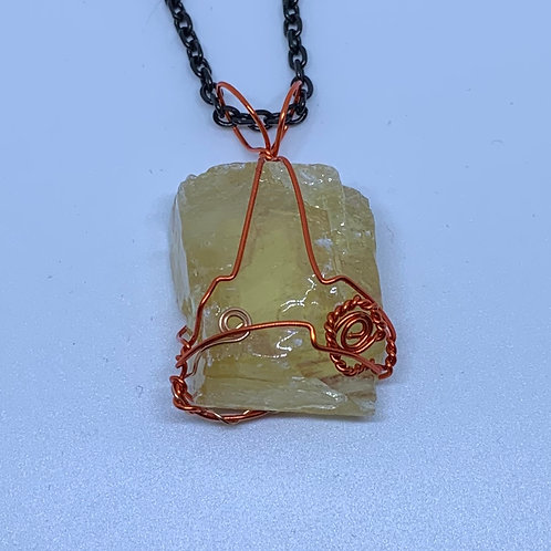 Honey Calcite Wire Wrapped Necklace