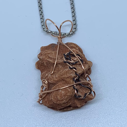 Barite Sand Rose Wire Wrapped Necklace