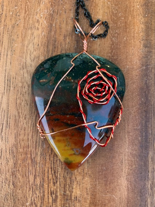 Sonoran Sunrise Jasper Wire Wrapped Necklace