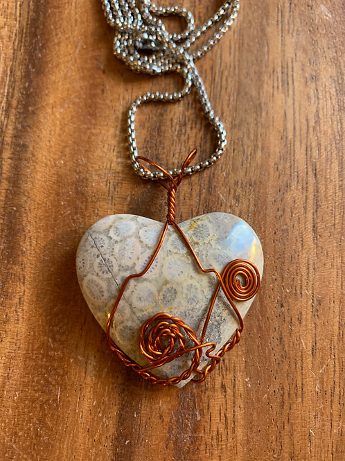Coral Heart Wire Wrapped Necklace