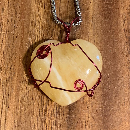 Orange Calcite Wire Wrapped Necklace