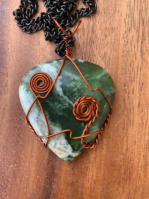 Serpentine Wire Wrapped Necklace