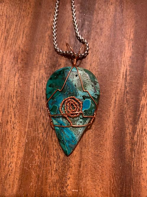 Chrysocolla & Malachite Wire Wrapped Necklace