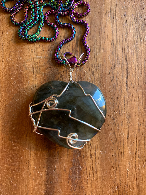 Labradorite Heart Wire Wrapped Necklace