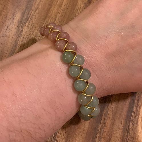 Green Aventurine and Strawberry Quartz Brass Ring Bracelet 01