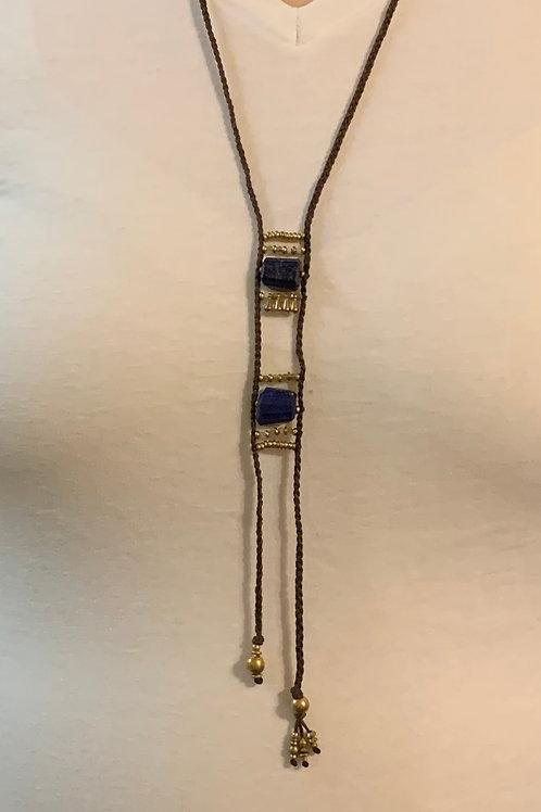 Lapis Lazuli Two Stone Necklace 05
