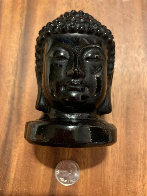 Black Obsidian Buddha Head