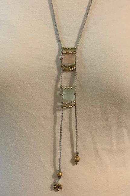 Rose Quartz and Aquamarine Two Stone Necklace 01