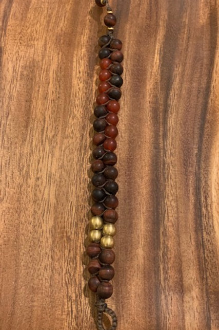 Mens Red Tiger Eye and Carnelian Double Row Bracelet 03