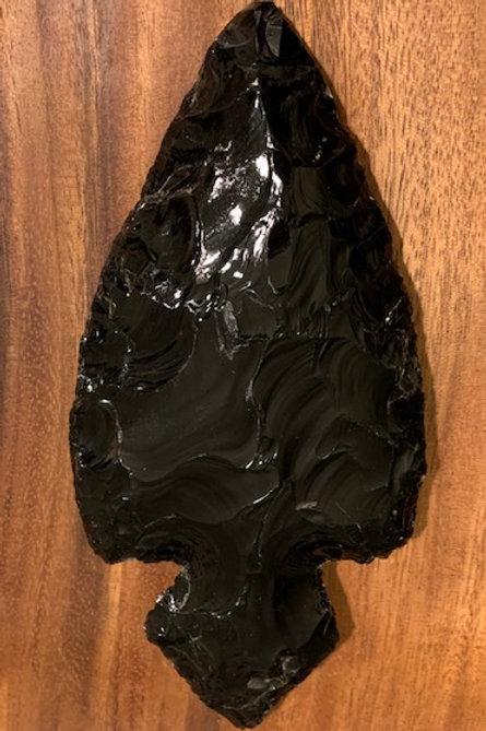 Large Black Obsidian Arrowhead