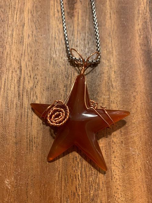 Carnelian Star Wire Wrapped Necklace