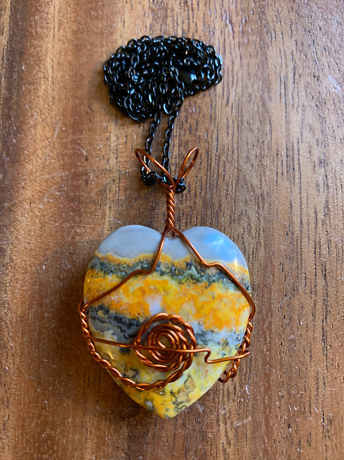 Bumblebee Jasper Wire Wrapped Necklace