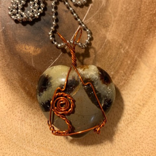 Septarian Heart Wire Wrapped Necklace
