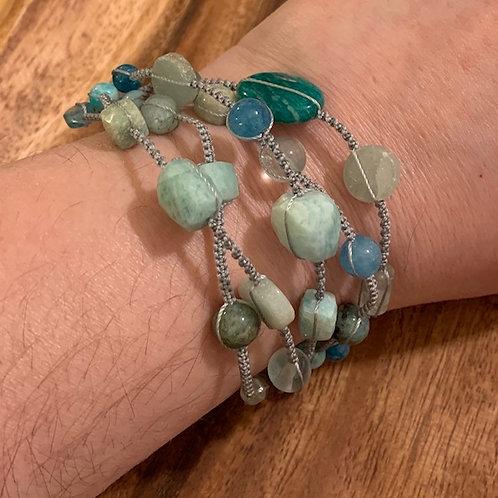Amazonite, Aquamarine, Flourite and Apatite Milti-Layer Bracelet