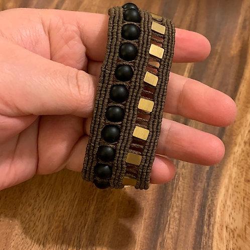 Matte Onyx & Pyrite Rock & Roll Bracelet