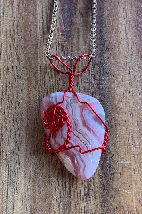 Rhodochrosite Wire Wrapped Necklace 02R