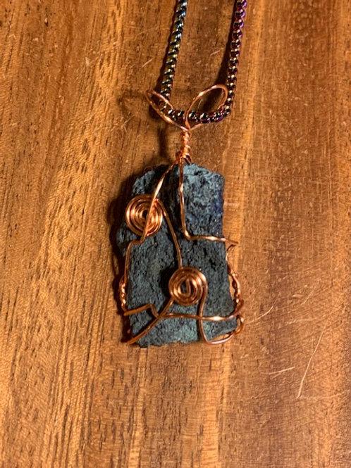 Raw Azurite Wire Wrapped Necklace