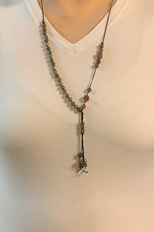 Labradorite and Strawberry Quartz Necklace p01