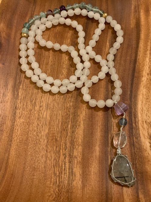 Matte Quartz and Fluorite with Prehnite Mala  10