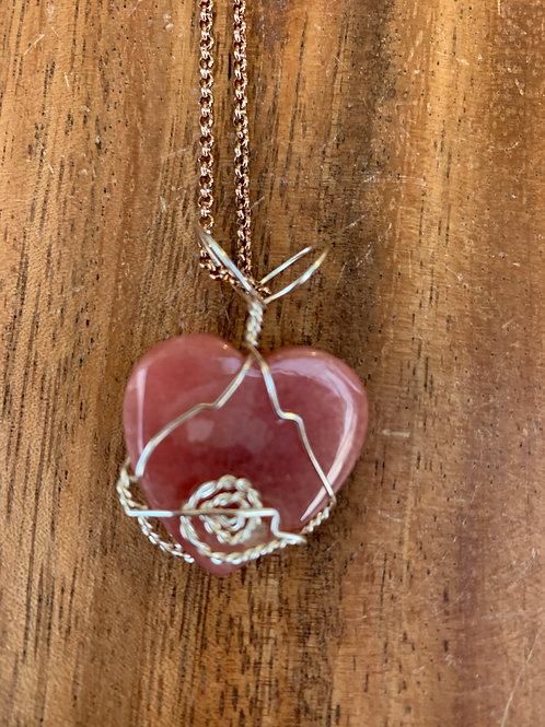 AAA Grade Rhodochrosite Heart Wire Wrapped Necklace 02R