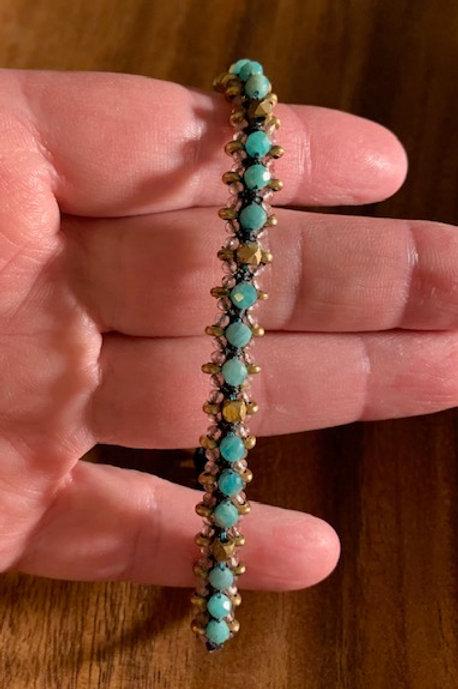 Larger Sized Amazonite & Strawberry Quartz Bracelet