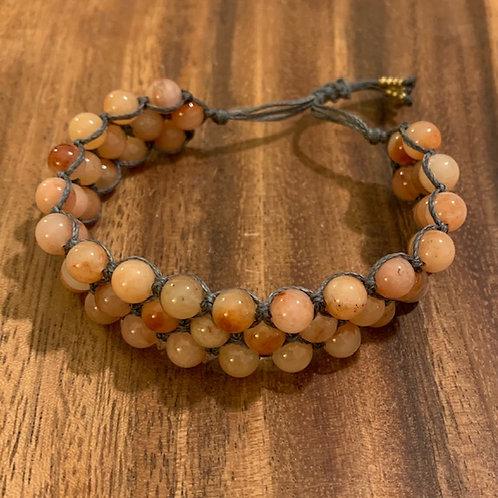 Peach Aventurine Three Row Bracelet