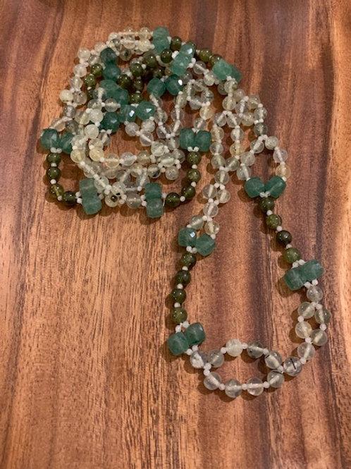 DNA Strand Tantric Prehnite, Yessonite, Green Quartz & Moonstone Mala 02