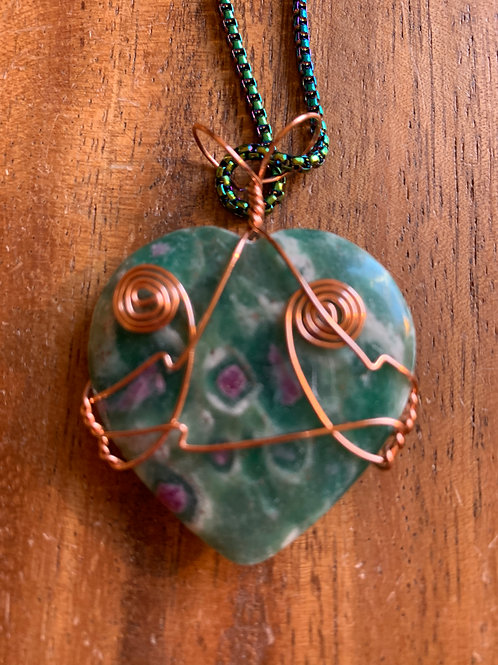 Ruby Zoisite Wire Wrapped Necklace