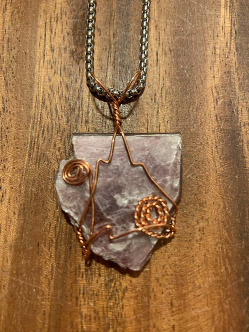 Lepidolite Wire Wrapped Necklace