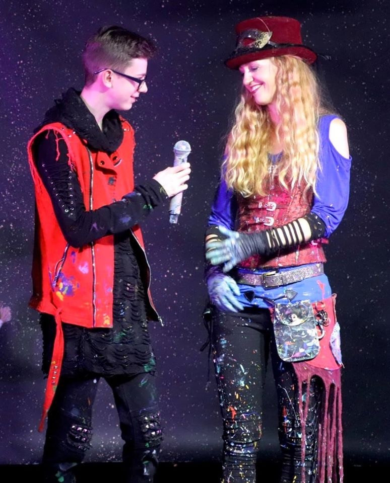 My son, Jaden and I enjoying a moment on stage.