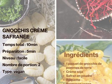 Recette végétale Gnocchis à la crème safranée