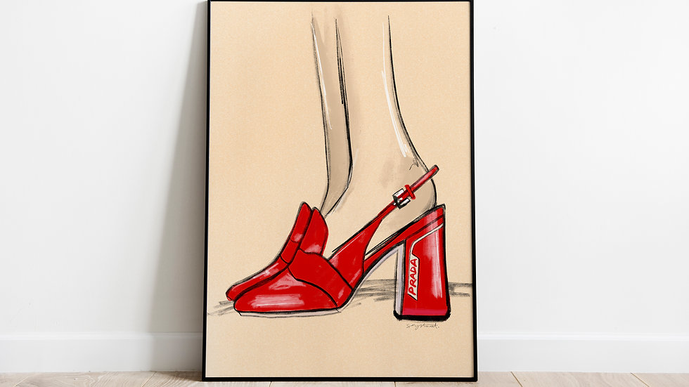 Red Prada Pumps (Size: A4)