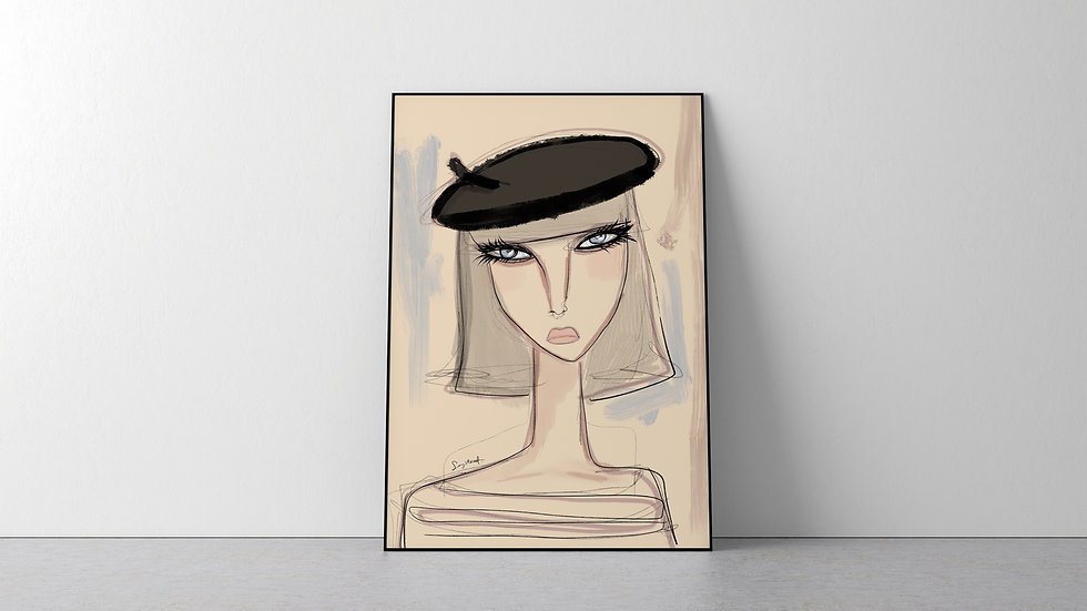 Girl with Beret (Size: A4)