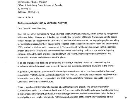 Letter to Privacy Commissioner Therrien Regarding the Facebook Data Breach by Cambridge Analytica