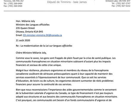 Lettre au ministre Mélanie Joly concernant la modernisation de la Loi sur les langues officielles