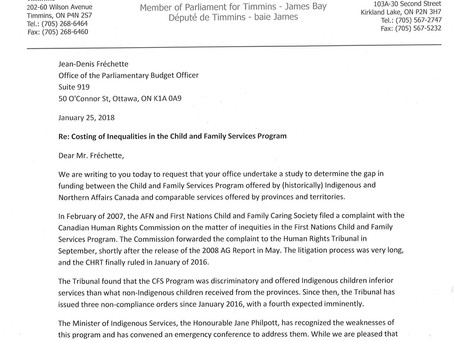 Letter Requesting a Study into the Inequalities of the Child and Family Services Program