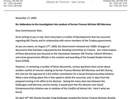 Letter to Commissioner Dion on Former Finance Minister Morneau's Decision to Fund a 2nd WE Project