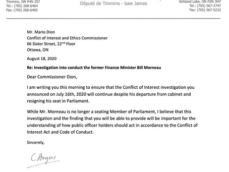 Letter to Commissioner Dion on the  Investigation into Conduct of Former Finance Minister Morneau