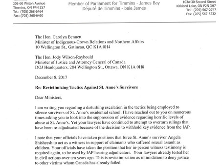 Letter to Ministers Bennett and Wilson-Raybould on the Silencing of St. Anne's IRS Survivors