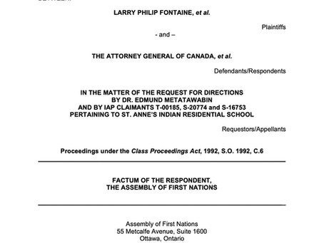 Legal Document Containing the Factum of the Respondent (AFN) for the Survivors of St. Anne's IRS