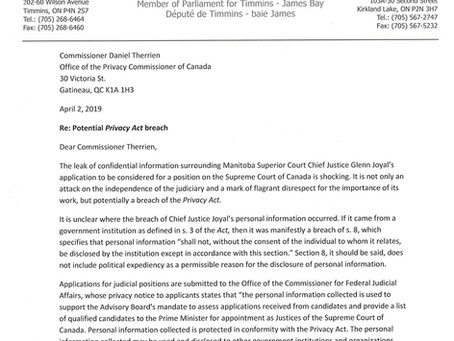 Letter to Privacy Commissioner Regarding a Potential Privacy Act Breach in Supreme Court Application