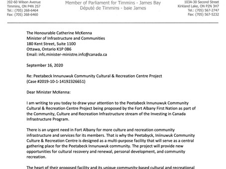 Letter to Minister McKenna on the  Peetabeck Innunuwuk Community Cultural & Recreation Centre