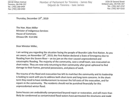 Letter to Minister Miller Regarding the State of Emergency Declared in Bearskin Lake First Nation