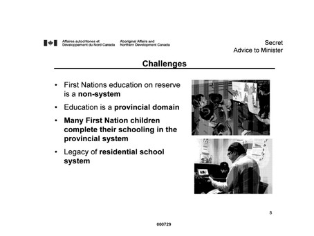 Aboriginal Affairs and Northern Development Memo on the Challenges of Education for FN Youth