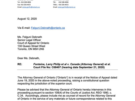 Letter Containing Factum from The Attorney General of Ontario on Survivors of St. Anne's IRS