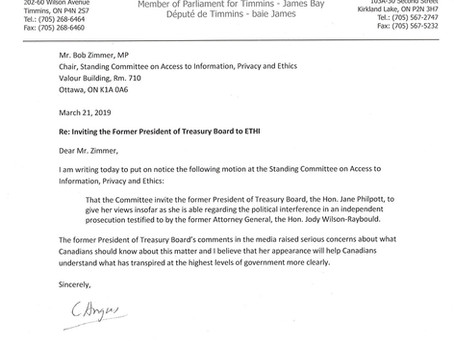Letter to Ethics Committee Chair Zimmer Inviting Minister Jane Philpot to Appear at Committee