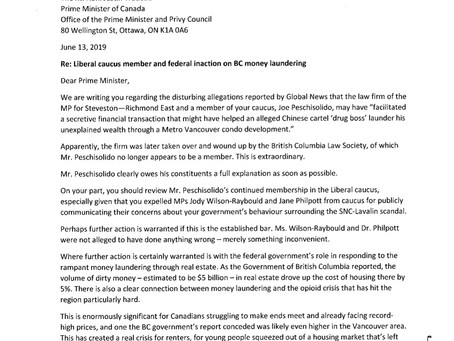 Letter to PM Trudeau on Liberal Caucus Member's Allegations of Money Laundering in Vancouver, BC