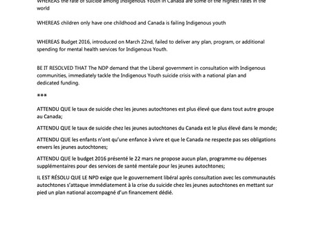 NDP Emergency Resolution on the Suicide Crisis Among Indigenous Youth