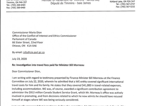 Letter to Commissioner Dion on the Investigation into Travel Fees Paid for Minister Morneau by WE